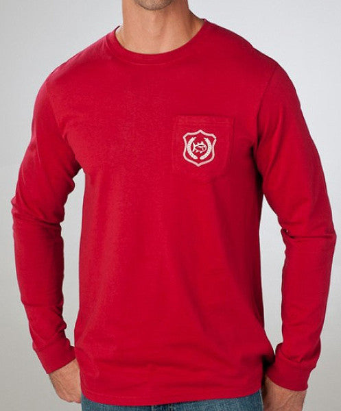 Southern Tide - Long Sleeve Collegiate Flag Pocket Tee: AL Front