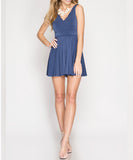 She + Sky - Sleeveless Romper With Scalloped Neckline And Back Cross Band