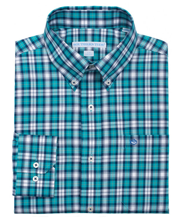 Southern Tide - Sonar Plaid Sport Shirt - Gulfstream