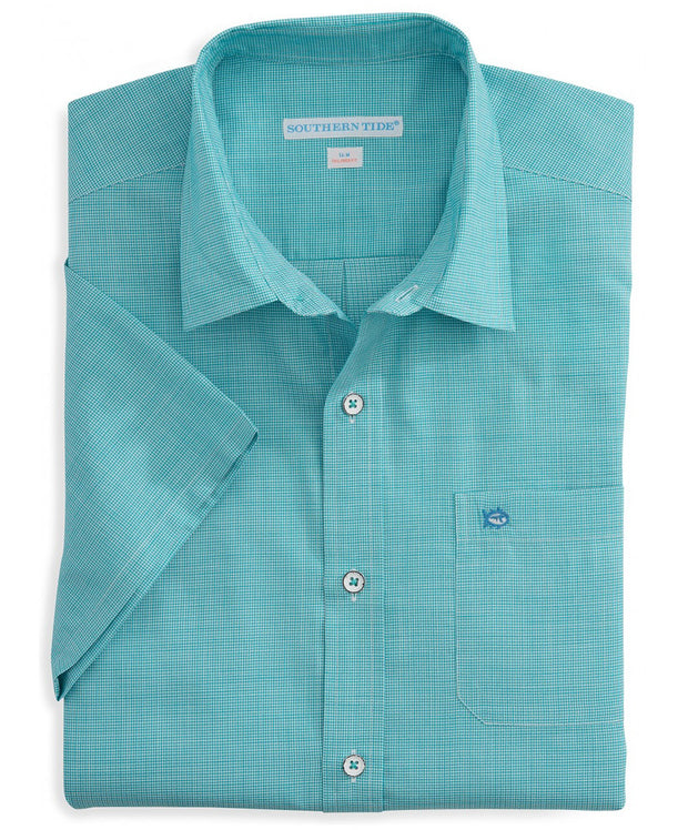 Southern Tide - Cast Off Check Short Sleeve Sport Shirt - Tidal Wave