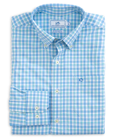 Southern Tide - Market Square Gingham Intercoastal Performance Long Sleeve Shirt