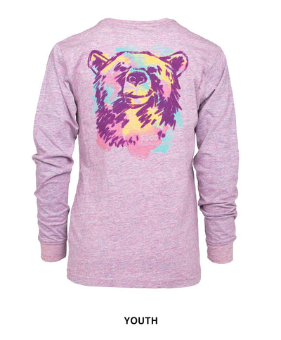 Southern Shirt Co - Girls Watercolor Bear Long Sleeve Tee