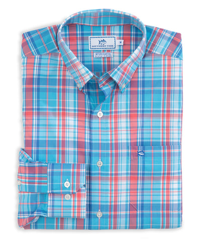 Southern Tide - Bellevue Plaid Intercoastal Performance Long Sleeve Tee