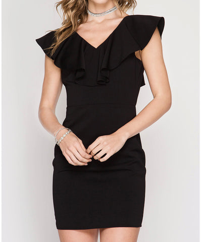 She + Sky - Sleeveless Ruffled Neck Fitted Dress With Tie Back