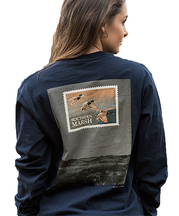 Southern Marsh - Duck Stamp Long Sleeve - Navy