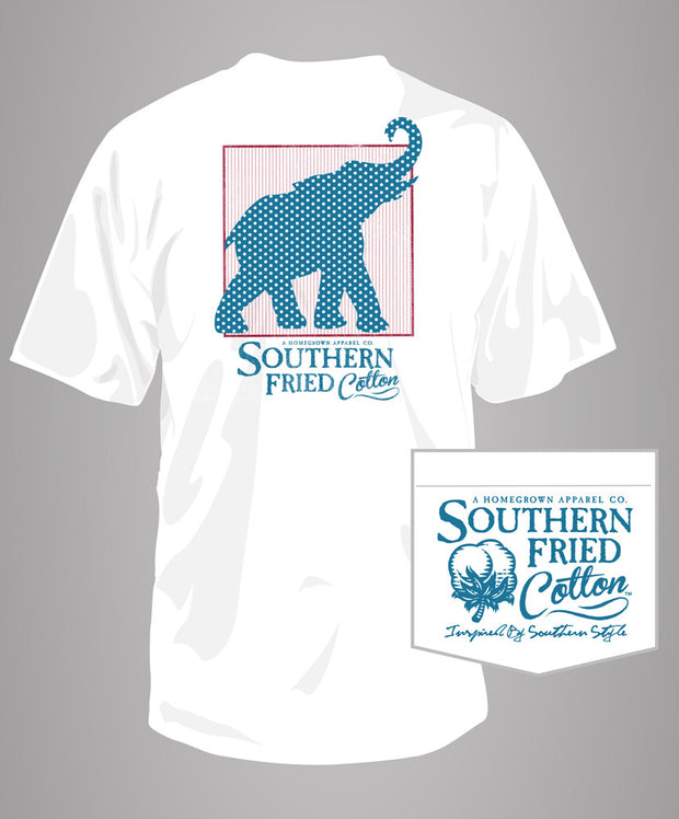 Southern Fried Cotton - Red White & Elephant Pocket Tee