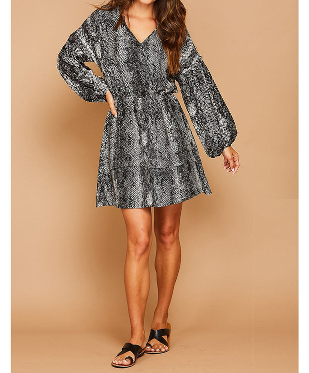 Black and Better Than Ever Snake Print Dress