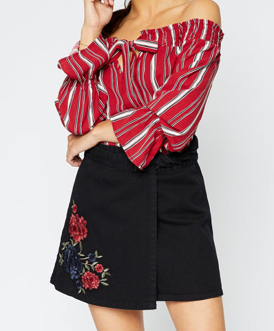 Sadie & Sage - Hanna Striped Off Shoulder Blouse