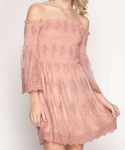 She + Sky - 3/4 Bell Sleeve Mesh Lace Off Shoulder Dress With Smocking Detail
