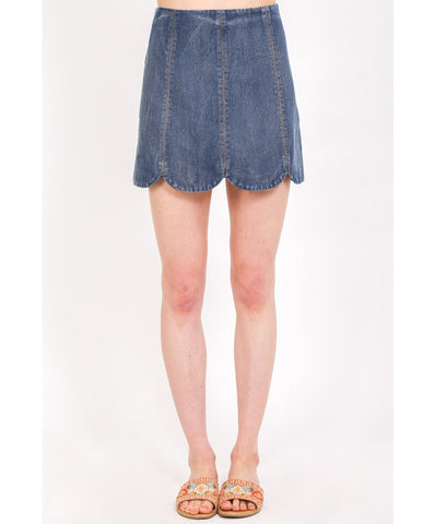 Very J - VS50652 - Scallop Hem Denim Skirt