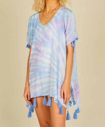 Tie Dye Cover Up With Tassels