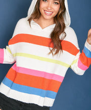Light Up My Life Striped Hooded Sweater