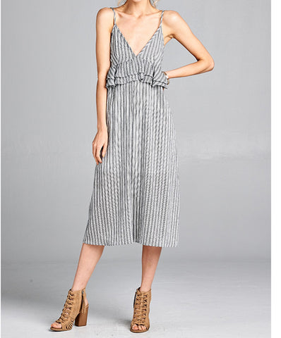Hummingbird - HD31978HC - Spaghetti Straps Stripe Midi Dress w/ Ruffle