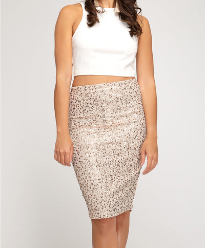 Pop The Champagne Sequin Skirt