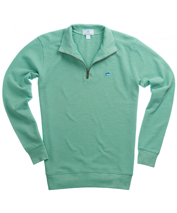 Southern Tide - Solid Pique 1/4 Zip Pullover Sweater - Haint Blue