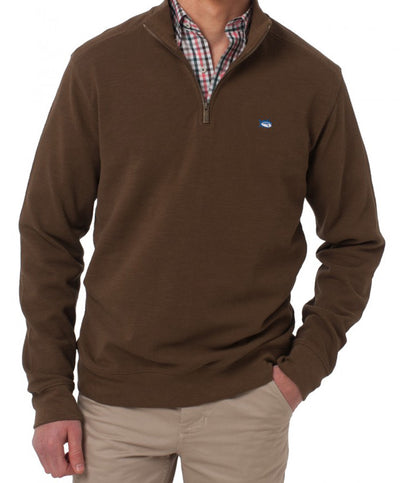 Southern Tide - Solid Pique 1/4 Zip Pullover Sweater - Hickory Stick