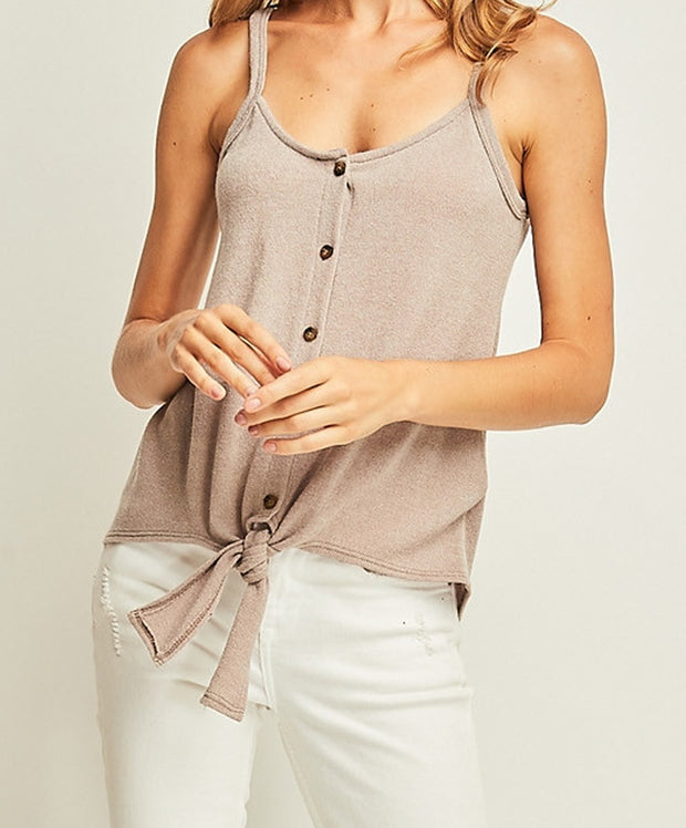Solid Knit Button Up Tank w/ Self Tie Detail