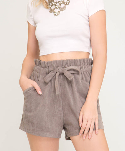 She + Sky - SL7865 - Faux Suede Paperbag Style Shorts