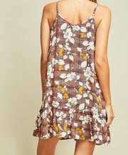 Floral and Plaid Print Spaghetti Strap Ruffle Dress