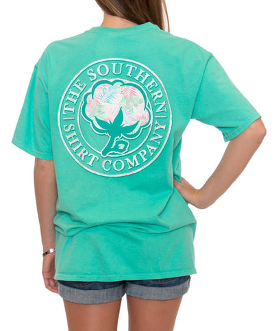Southern Shirt Co - Palm Print Logo Pocket Tee - Mojito Back