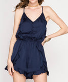 She + Sky - Satin Button Down Cami Romper With Ruffles And Lining