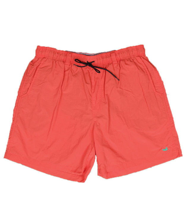 Southern Marsh - The Dockside Swim Trunk - Neon Coral w/ Lime Duck