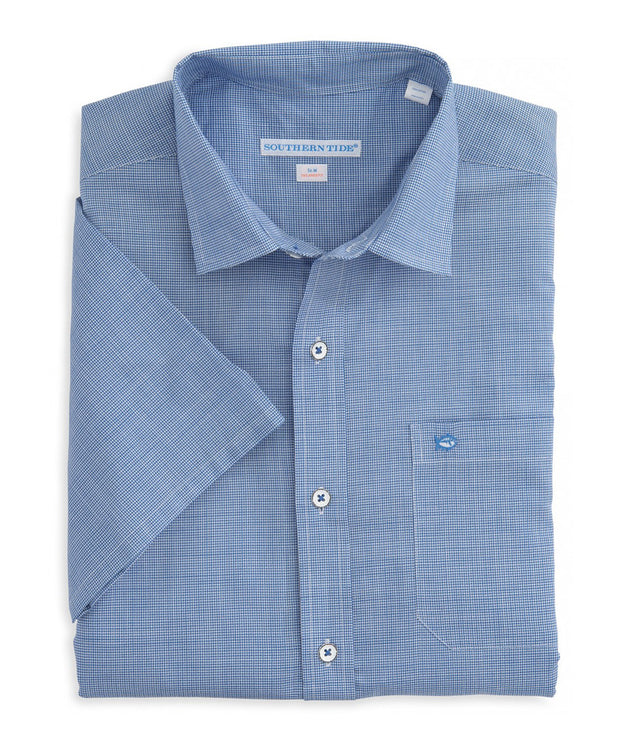 Southern Tide - Cast Off Check Short Sleeve Sport Shirt - Over Sea Blue