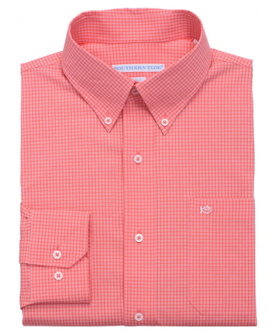 Southern Tide - Fortune Hills Plaid Sport Shirt - Coral Beach