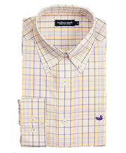 Southern Marsh - Sutton Plaid: Wrinkle Free - Purple/Yellow
