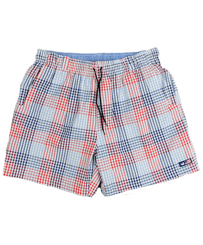 Southern Marsh - Dockside Swim Trunk - Seersucker Gingham - Navy and Red