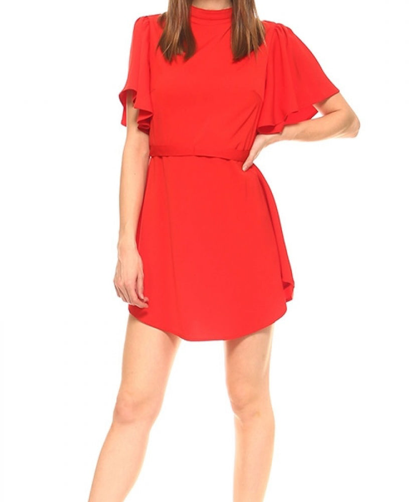 TCEC - Mock-Neck Belted Dress