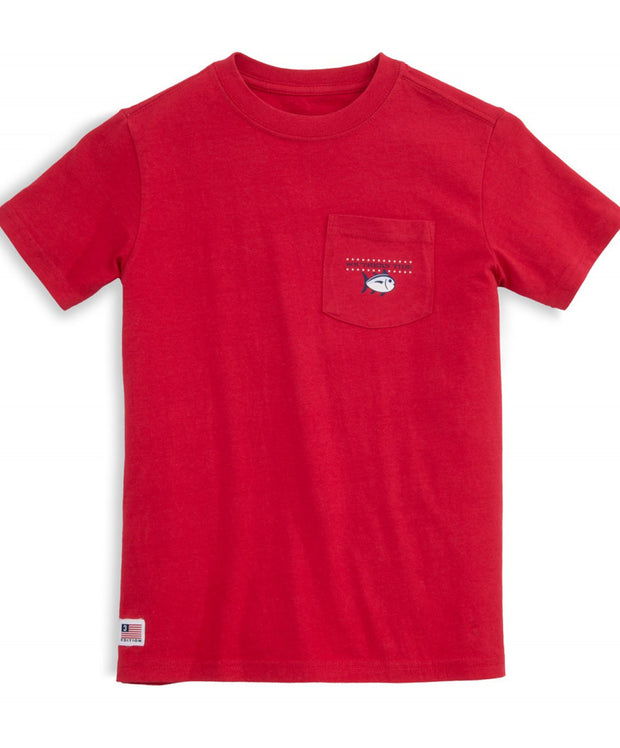 Southern Tide - Youth Independence Tee - True Red Front