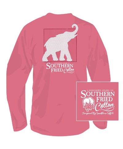 Southern Fried Cotton - Red White & Elephant Long Sleeve Tee
