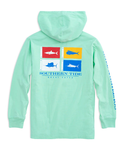 Southern Tide - Youth Catch Flags Long Sleeve Hoodie Tee