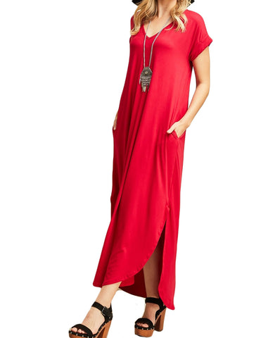 Entro - 3357 - V-Neck Maxi Dress w/ Pockets