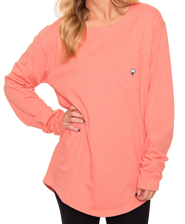 Southern Shirt Co. - Kimmy Boatneck Long Sleeve - Pink Salmon