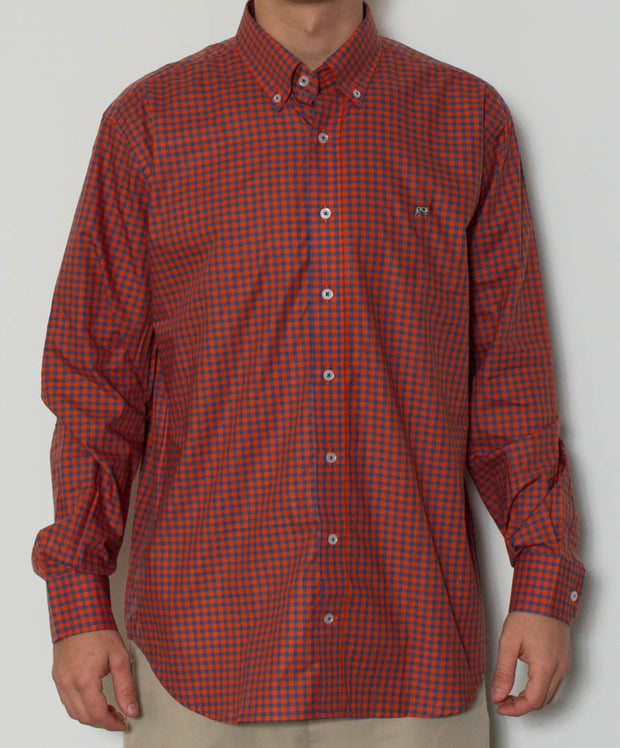 Southern Point - Hadley Long Sleeve Button Down - Blue/Orange Check - Front