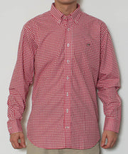 Southern Point - Hadley Long Sleeve Button Down - Maroon Gingham - Front