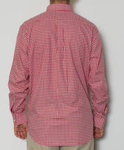 Southern Point - Hadley Long Sleeve Button Down - Maroon Gingham - Back
