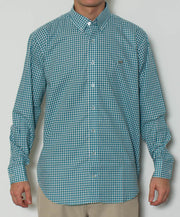 Southern Point - Hadley Long Sleeve Button Down - Teal Gingham - Front