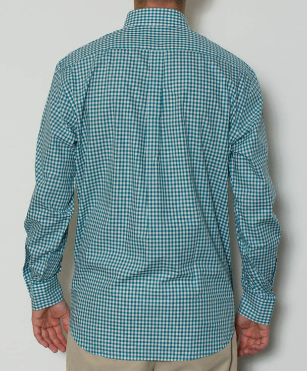 Southern Point - Hadley Long Sleeve Button Down - Teal Gingham - Back