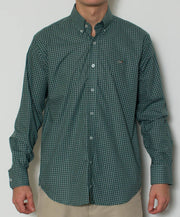 Southern Point - Hadley Long Sleeve Button Down - Emerald Gingham - Front