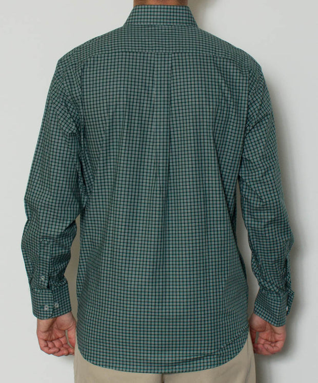 Southern Point - Hadley Long Sleeve Button Down - Emerald Gingham - Back