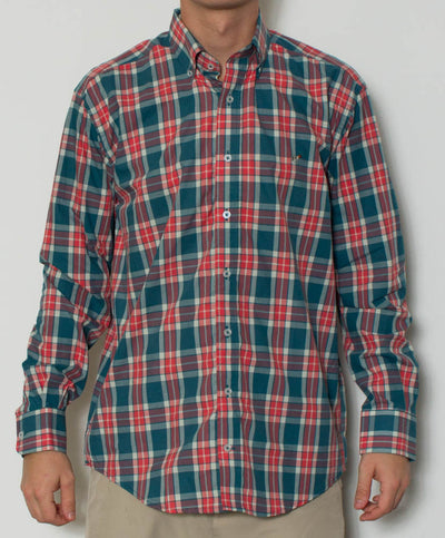 Southern Point - Hadley Long Sleeve Button Down - The Cobb Plaid - Front