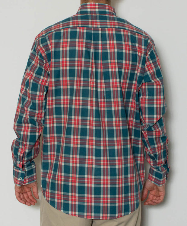 Southern Point - Hadley Long Sleeve Button Down - The Cobb Plaid - Back