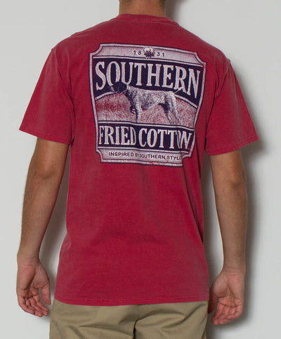 Southern Fried Cotton - Big Pointer S/S Pocket Tee - Crimson Back
