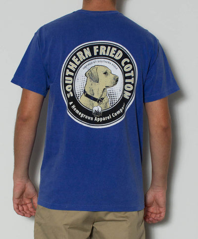 Southern Fried Cotton - Yellow Lab S/S Pocket Tee - Neon Blue Back