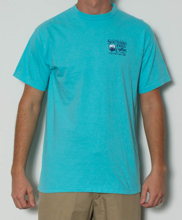 Southern Fried Cotton - Duck Stripes S/S Pocket Tee - Lagoon Blue Front