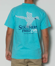 Southern Fried Cotton - Duck Stripes S/S Pocket Tee - Lagoon Blue Back