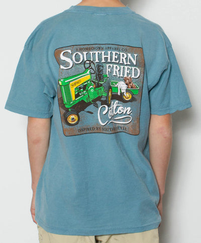 Southern Fried Cotton - Youth Green Tractor T-Shirt - Back